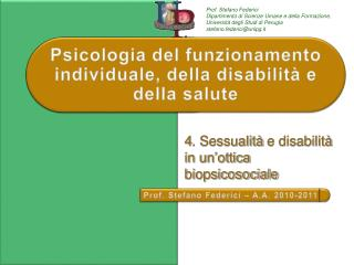 Psicologia  del funzionamento individuale, della disabilità e della salute