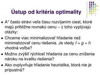 Ústup od kritéria optimality