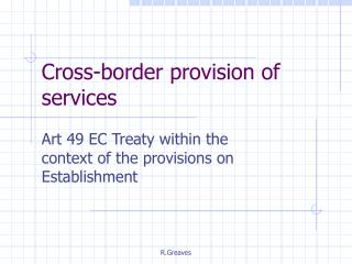 Cross-border provision of services