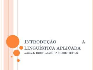 Introdução a  linguística  aplicada