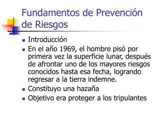 Fundamentos de Prevención de Riesgos