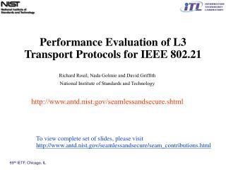 Performance Evaluation of L3 Transport Protocols for IEEE 802.21