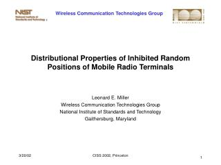 Distributional Properties of Inhibited Random Positions of Mobile Radio Terminals
