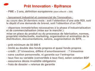 Prêt Innovation - Bpifrance