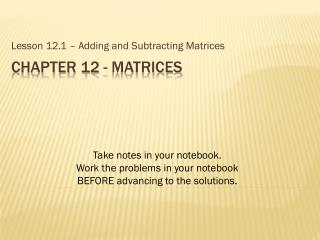 Chapter 12 - Matrices