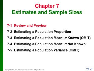 Chapter 7 Estimates and Sample Sizes