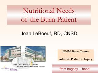Nutritional Needs  of the Burn Patient