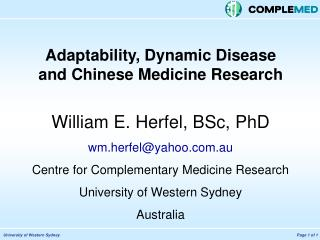 Adaptability, Dynamic Disease  and Chinese Medicine Research