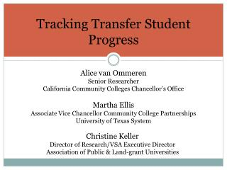 Tracking Transfer Student Progress
