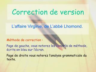 Correction de version
