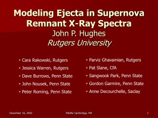 Modeling Ejecta in Supernova Remnant X-Ray Spectra John P. Hughes Rutgers University