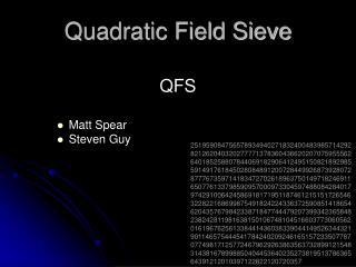Quadratic Field Sieve
