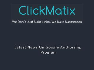 Latest News on Google Authorship Program