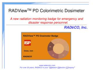 RADView TM  PD Colorimetric Dosimeter