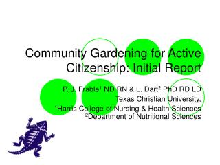 Community Gardening for Active Citizenship: Initial Report