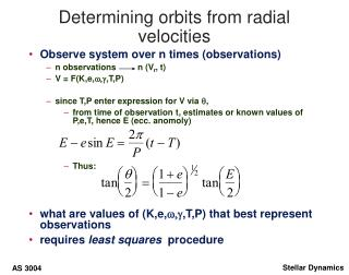 Determining orbits from radial velocities