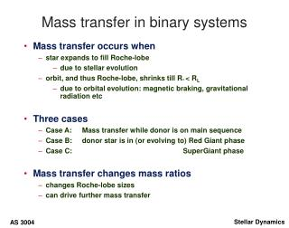 Mass transfer in binary systems
