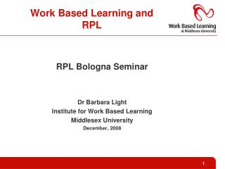 Work Based Learning and RPL