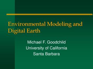 Environmental Modeling and Digital Earth