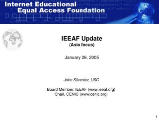 IEEAF Update (Asia focus) January 26, 2005