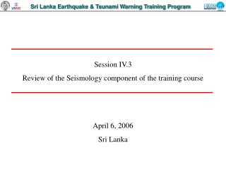 Sri Lanka Earthquake  Tsunami Warning Training Program