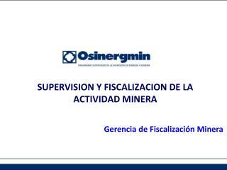 SUPERVISION  Y FISCALIZACION DE LA ACTIVIDAD MINERA