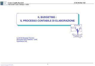 IL BUDGETING :  IL PROCESSO CONTABILE DI ELABORAZIONE