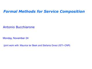 Formal Methods for Service Composition