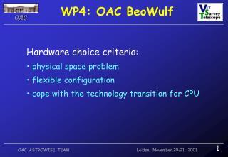 WP4: OAC BeoWulf