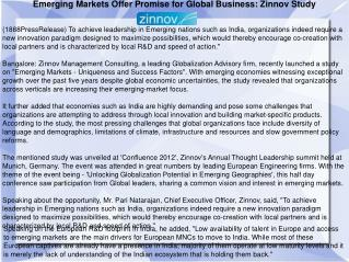 Emerging Markets Offer Promise for Global Business: Zinnov S