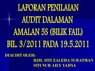 LAPORAN PENILAIAN AUDIT DALAMAN  AMALAN 5S (BILIK FAIL) BIL. 3/2011 PADA 19.5.2011