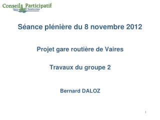 Séance plénière du 8 novembre 2012