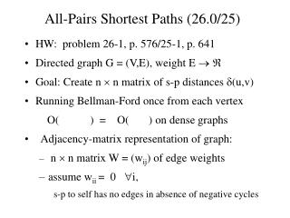 All-Pairs Shortest Paths (26.0/25)
