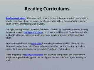 Reading curriculums