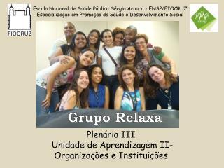 Plenária III  Unidade de Aprendizagem II- Organizações e Instituições