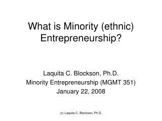 What is Minority (ethnic) Entrepreneurship?