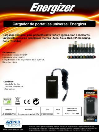 Cargador  de  portatiles universal  Energizer