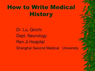 How to Write Medical History