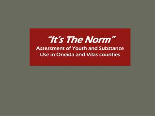 """It's The Norm"" Assessment of Youth and Substance Use in Oneida and Vilas counties"