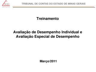 Treinamento Avaliação de Desempenho Individual e Avaliação Especial de Desempenho