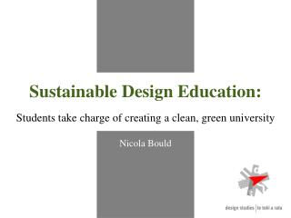 Sustainable Design Education: