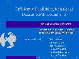 Efficiently Publishing Relational Data as XML Documents