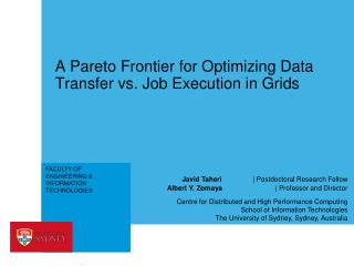A Pareto Frontier for Optimizing Data Transfer  vs. Job  Execution in Grids