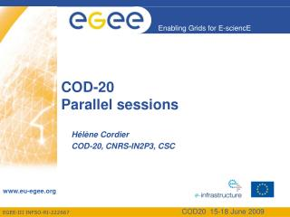 COD-20 Parallel sessions