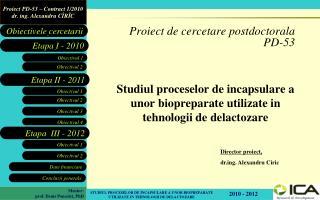 Proiect de cercetare postdoctorala  PD-53