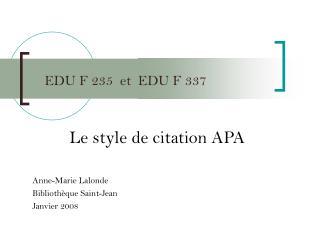 EDU F 235  et  EDU F 337