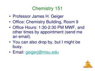 Chemistry 151