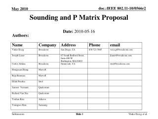Sounding and P Matrix Proposal