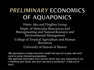 Preliminary Economics of Aquaponics