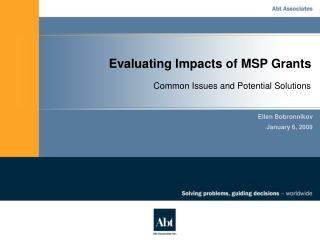 Evaluating Impacts of MSP Grants